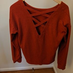 Red Sweater with Exposed Back